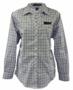 Ladies Blue Crosshatch Plaid Shirt