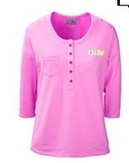 Ladies Pink Henley