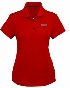Ladies Red Moisture Wicking Polo