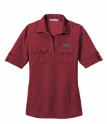 Ladies Red Oxford Double Pocket Polo