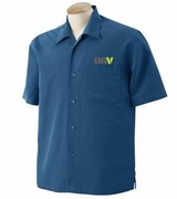 Men's Blue Textured Camp Shirt