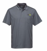 Men's Grey Moisture Wicking Pocket Polo