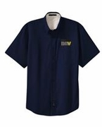 Navy Short Sleeve Button Up Shirt