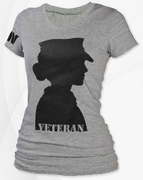 Woman's Veteran Grey V-Neck