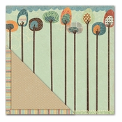 Acorn Hollow Collection Tallest Trees/Striped Piping Double-Sided 12 x 12 Scrapbook Paper by Little Yellow Bicycle