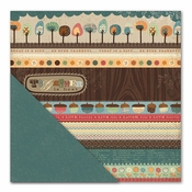 Acorn Hollow Collection Bountiful Bands/Textured Teal Double-Sided 12 x 12 Scrapbook Paper by Little Yellow Bicycle