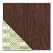 Acorn Hollow Collection Walnut Woodgrain/Fleur De Lovely Double-Sided 12 x 12 Scrapbook Paper by Little Yellow Bicycle
