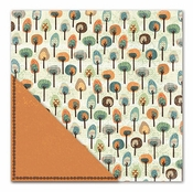 Acorn Hollow Collection Fancy Forest/Pumpkin Pinstripe Double-Sided 12 x 12 Scrapbook Paper by Little Yellow Bicycle