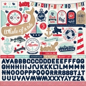 Ahoy There Collection 12 x 12 Cardstock Sticker Sheet by Carta Bella