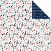 Ahoy There Collection Anchors Away Double-Sided 12 x 12 Scrapbook Paper by Carta Bella