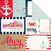 Ahoy There Collection Let's Sail Double-Sided 12 x 12 Scrapbook Paper by Carta Bella