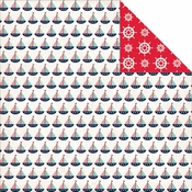 Ahoy There Collection Sailboats Double-Sided 12 x 12 Scrapbook Paper by Carta Bella