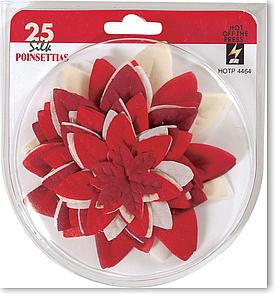 Christmas Red & White Silk Poinsettias - Pkg. of 25