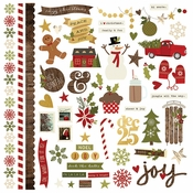 Cozy Christmas Collection Fundamentals 12 x 12 Cardstock Sticker Sheet by Simple Stories