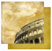Destination Europe Collection Colosseum Glitter Double-Sided 12 x 12 Scrapbook Paper by Best Creation Inc.
