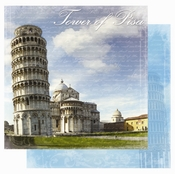 Destination Europe Collection Tower of Pisa Glitter Double-Sided 12 x 12 Scrapbook Paper by Best Creation Inc.