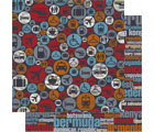 Detour Travel Collection Icons Double-Sided 12 x 12 Scrapbook Paper by BoBunny