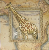 Giraffe Map 12 x 12 Scrapbook Paper by SugarTree