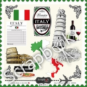 Sightseeing Collection Italy   12 x 12 Sticker Sheet by Scrapbook Customs