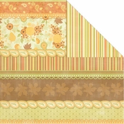 Orchard Harvest Collection Autumn Stripe 12 x 12 Double-Sided Scrapbook Paper by Creative Imaginations