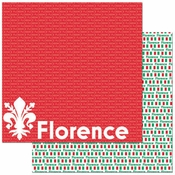 Passports Collection Florence Italy 12 x 12 Double-Sided Scrapbook Paper by Reminisce