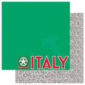 Passports Collection Italy Double-Sided 12 x 12 Scrapbook Paper by Reminisce