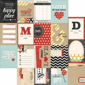 """Say Cheese Collection  3"""" x 4"""" Journal Card Elements 12 x 12 Double-Sided Scrapbook Paper by Simple Stories"""