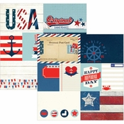 Sea To Shining Sea Collection Elements #1 Double-Sided 12 x 12 Scrapbook Paper by Simple Stories