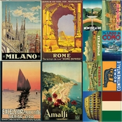 Travelogue Collection Italy 12 x 12 Diecut Sticker Sheet by Reminisce