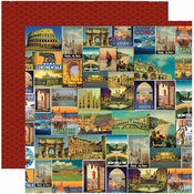 Travelogue Collection Viva Italia Double-Sided 12 x 12 Scrapbook Paper by Reminisce