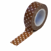 Trendy Tape Collection Brown Polka Dots Self-Adhesive Washi Tape by Queen & Co. - 10 Yards