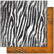 Zoology Collection Zebra Double-Sided 12 x 12 Scrapbook Paper by BoBunny