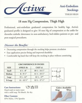 Activa Thigh High Anti-Embolism Stockings with Uni-Band Top (Closed Toe) (18mmHg)