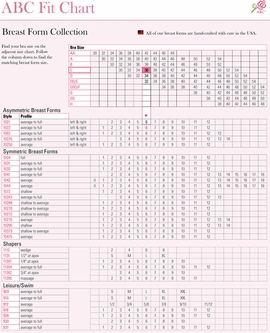 American Breast Care Breast Form Size Chart