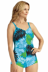 Amoena Bermuda Pocketed Boyleg Swimsuit, Dark Azure/Apple