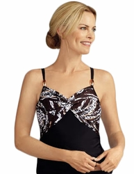Amoena Corfu Pocketed Tankini Top Swimsuit, Black/Copper