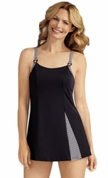 Amoena Faro Pocketed Swimdress, Black/White