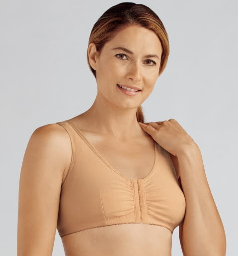 Amoena Frances Cotton Front Closure Pocketed Leisure Bra 2128