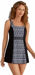 Amoena Lima Pocketed Swimdress 71001 - Black and White