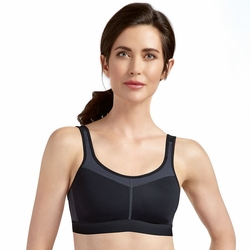 Amoena Power Medium Support Soft Cup Pocketed Bra 1152 - Black/Gray