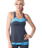 Amoena Racer Back Pocketed Tank Top - Gray/Blue 1010