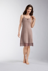 Amoena Romance Dots Pocketed Nightdress 1240 - Light Brown