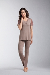 Amoena Romance Dots Pocketed Pajama Set 1244 - Light Brown