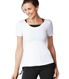 Amoena Short Sleeve Pocketed Top with Detachable Bra - Black/White 1013