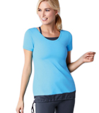Amoena Short Sleeve Pocketed Top with Detachable Bra - Gray/Blue 1014