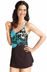 Amoena Sienna Pocketed Swimdress, Espresso/Jade