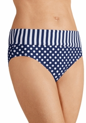 Amoena Tavira High Waist Brief Panty Swimsuit Bottom 71027 - Navy and White