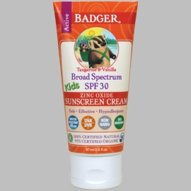 Badger Broad Spectrum SPF 30 Kids Sunscreen Cream with Zinc Oxide (Scented)