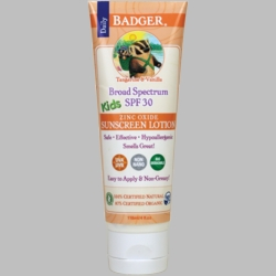 Badger Broad Spectrum SPF 30 Kids Sunscreen Lotion with Zinc Oxide (Scented)