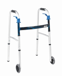 "Drive Deluxe, Trigger Release Folding Walker, Junior,  with 5"" Wheels"